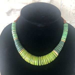 Green wooden necklace bohemian